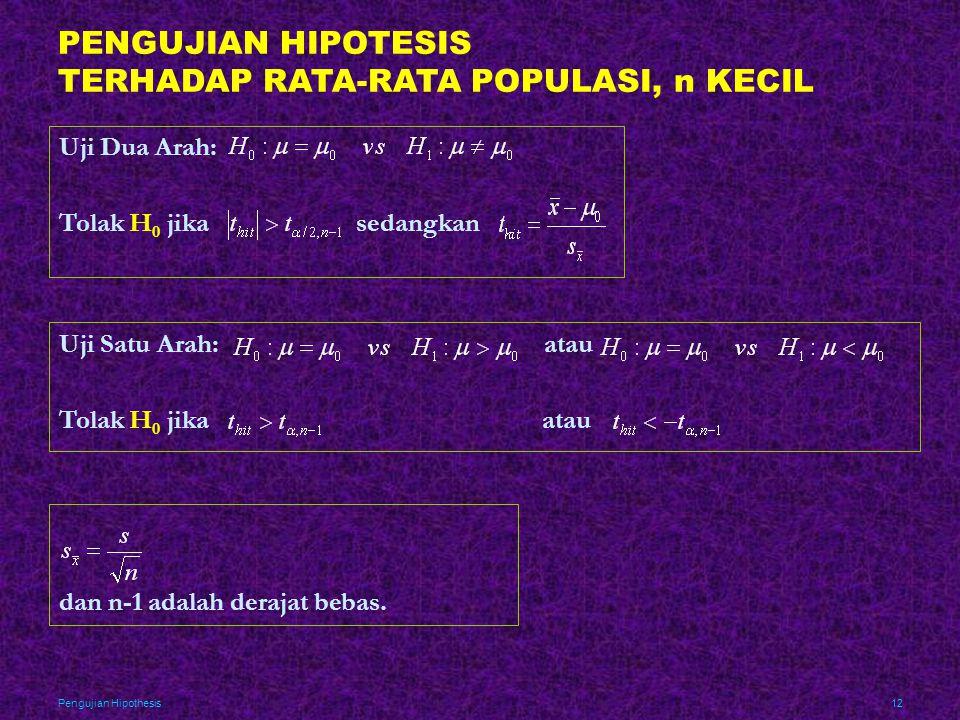 PENGUJIAN HIPOTESIS TERHADAP RATA-RATA POPULASI, n KECIL
