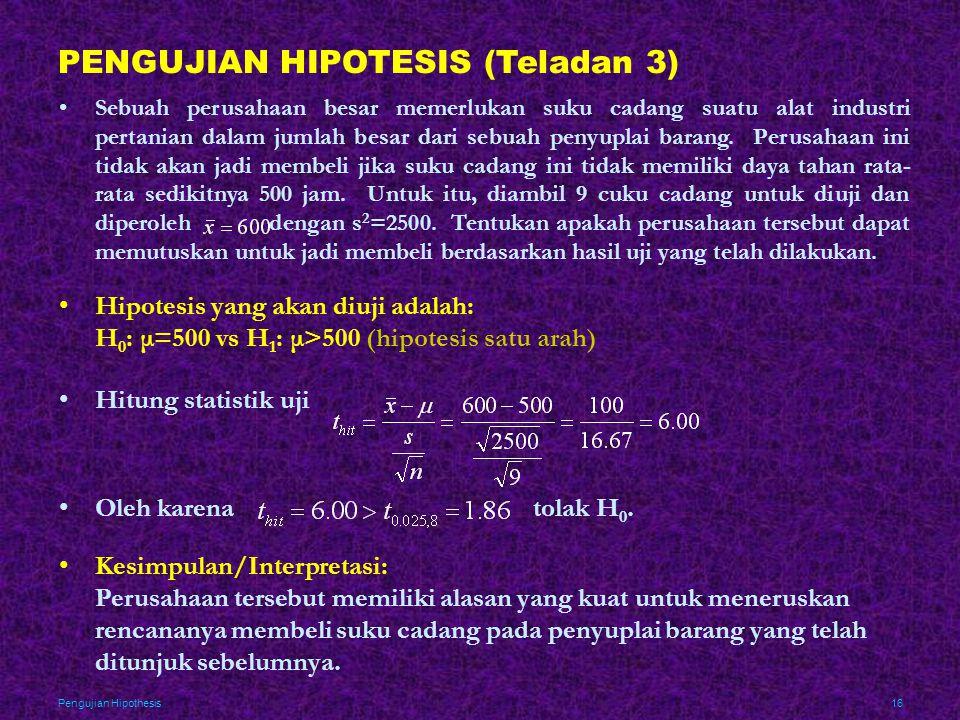 PENGUJIAN HIPOTESIS (Teladan 3)