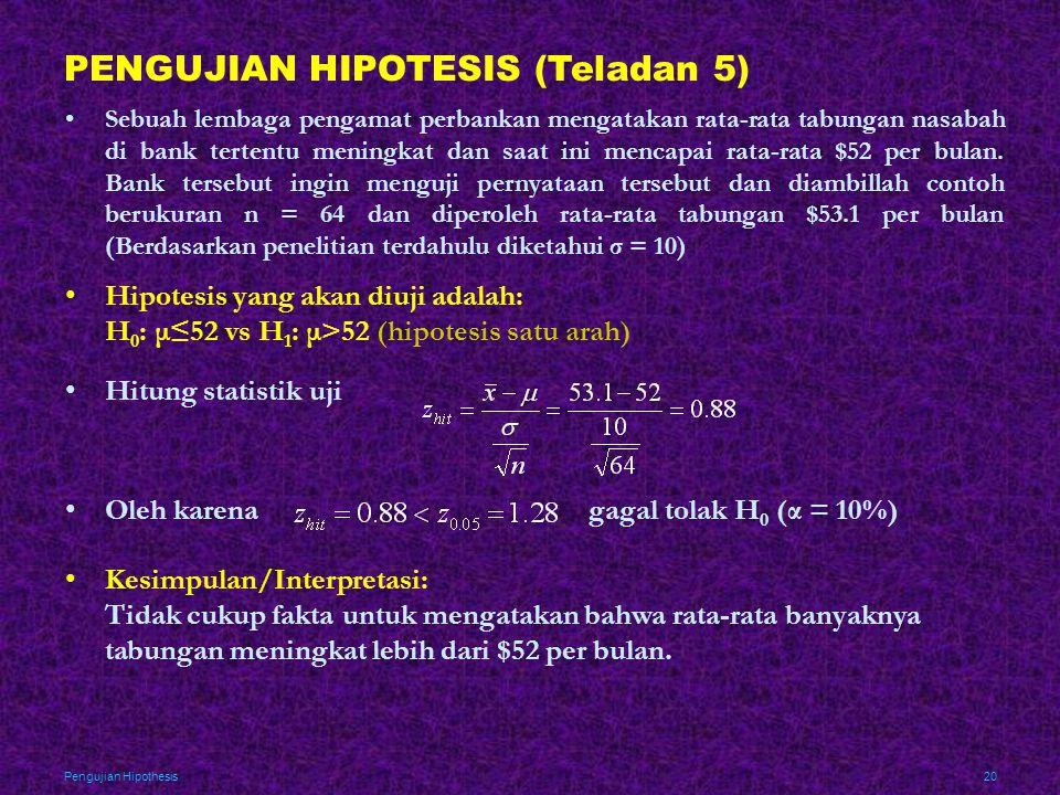 PENGUJIAN HIPOTESIS (Teladan 5)