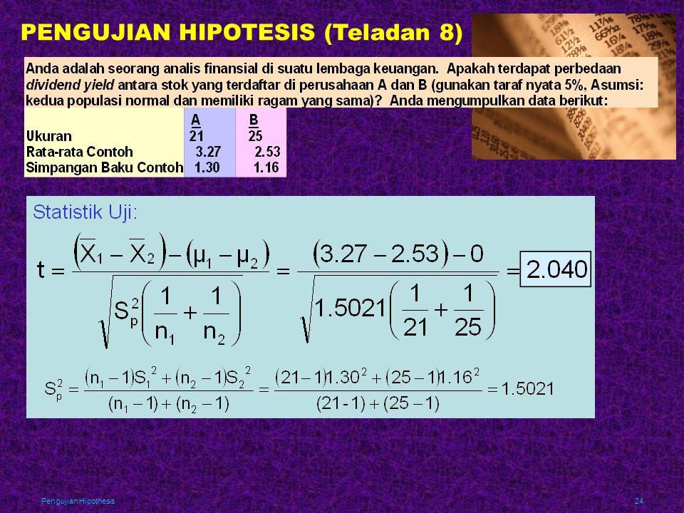 PENGUJIAN HIPOTESIS (Teladan 8)