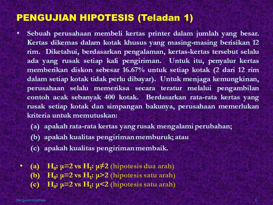 PENGUJIAN HIPOTESIS (Teladan 1)