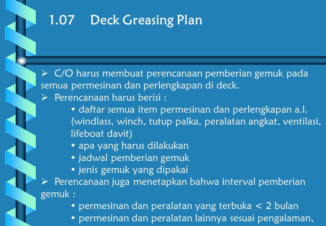 1.07 Deck Greasing Plan C/O harus membuat perencanaan pemberian gemuk pada semua permesinan dan perlengkapan di deck.