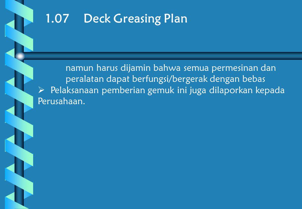 1.07 Deck Greasing Plan namun harus dijamin bahwa semua permesinan dan peralatan dapat berfungsi/bergerak dengan bebas.