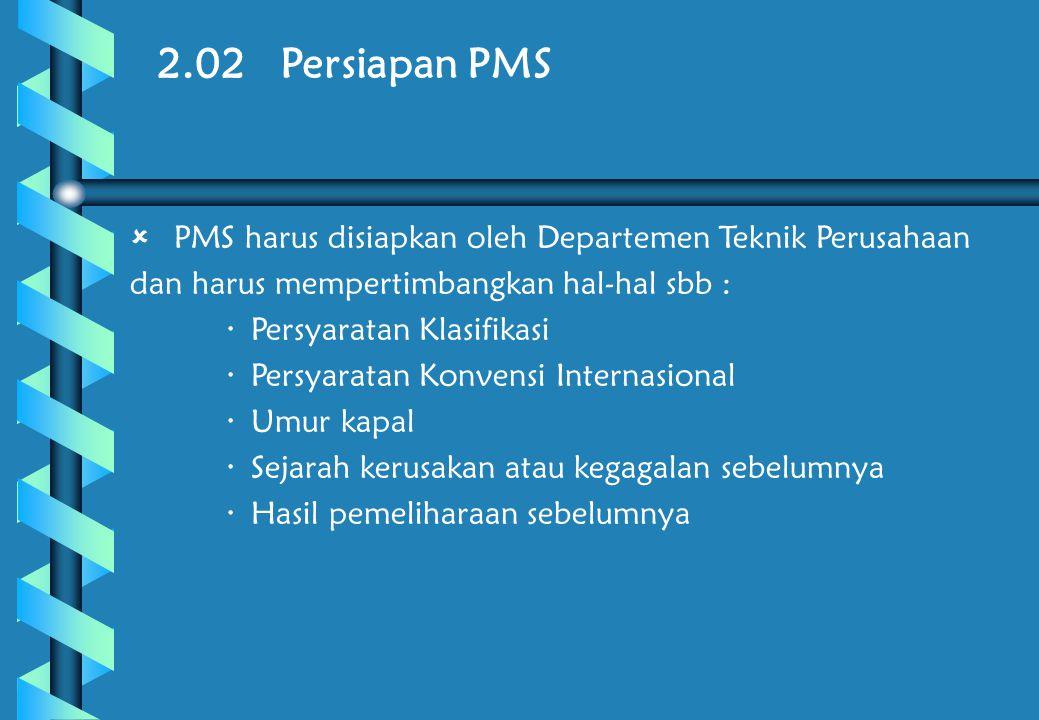 2.02 Persiapan PMS PMS harus disiapkan oleh Departemen Teknik Perusahaan dan harus mempertimbangkan hal-hal sbb :