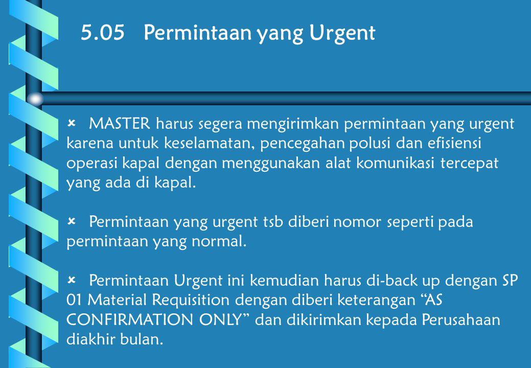 5.05 Permintaan yang Urgent