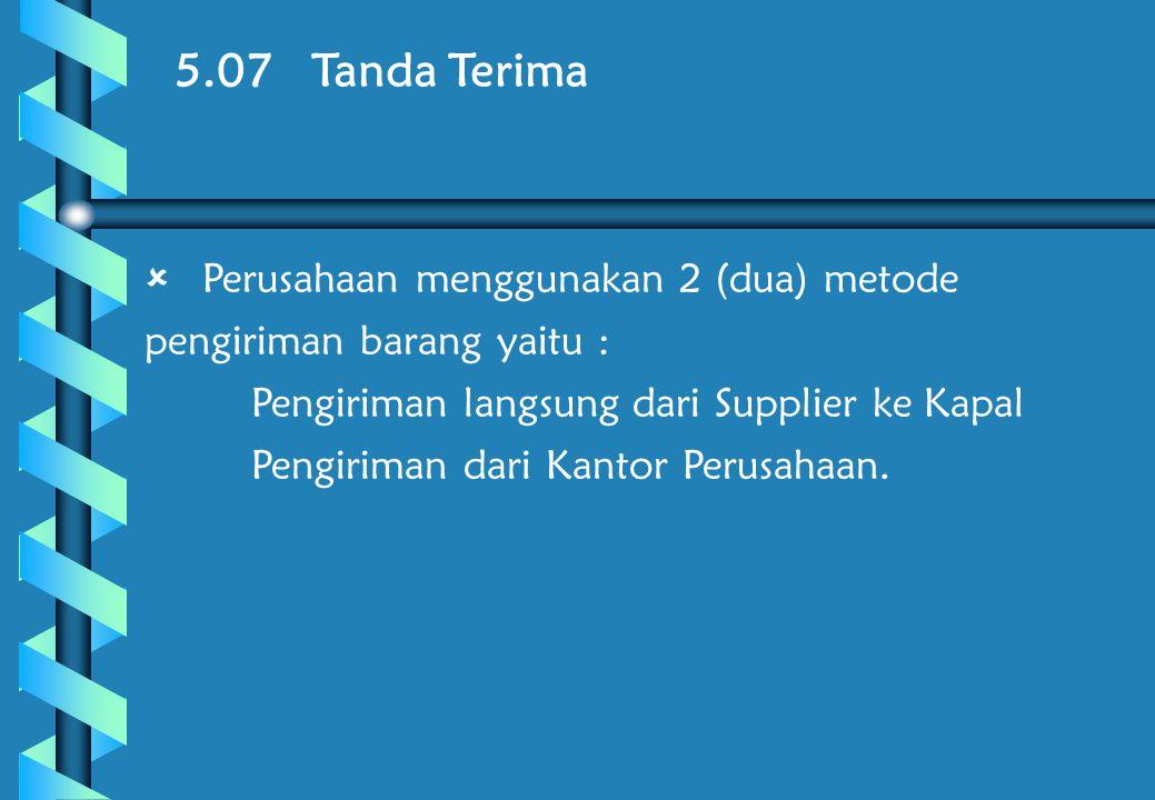 5.07 Tanda Terima Perusahaan menggunakan 2 (dua) metode pengiriman barang yaitu : Pengiriman langsung dari Supplier ke Kapal.