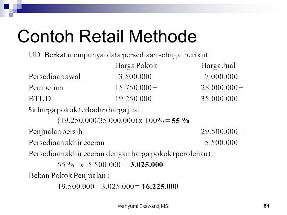 Contoh Retail Methode UD. Berkat mempunyai data persediaan sebagai berikut : Harga Pokok Harga Jual.