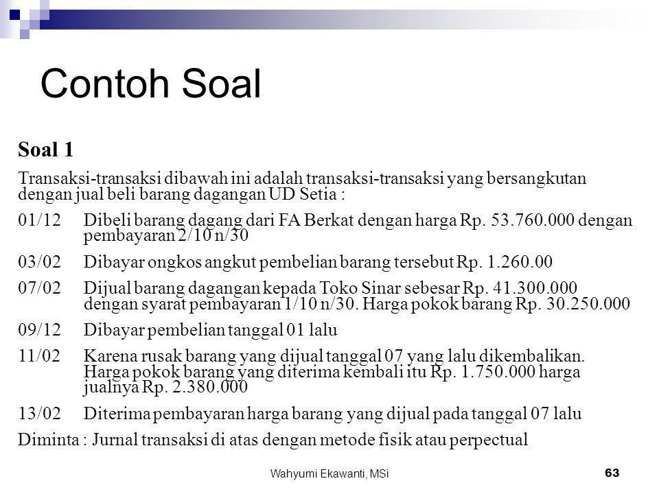 Contoh Soal Soal 1. Transaksi-transaksi dibawah ini adalah transaksi-transaksi yang bersangkutan dengan jual beli barang dagangan UD Setia :