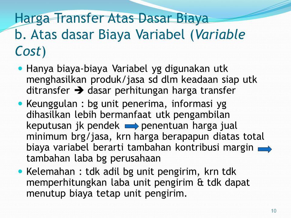 Harga Transfer Atas Dasar Biaya b