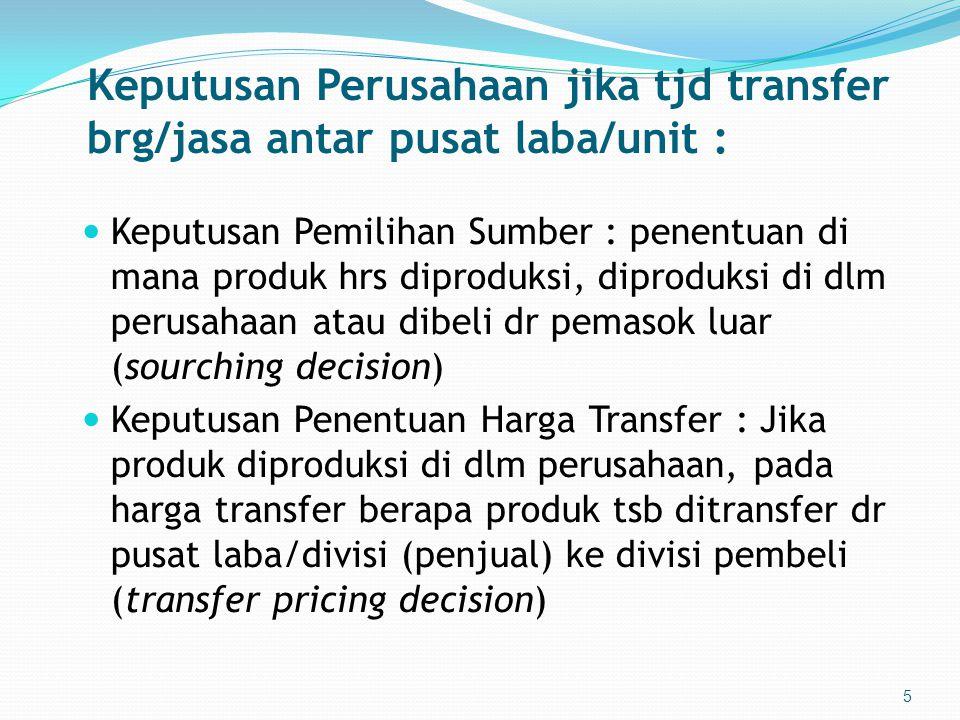 Keputusan Perusahaan jika tjd transfer brg/jasa antar pusat laba/unit :