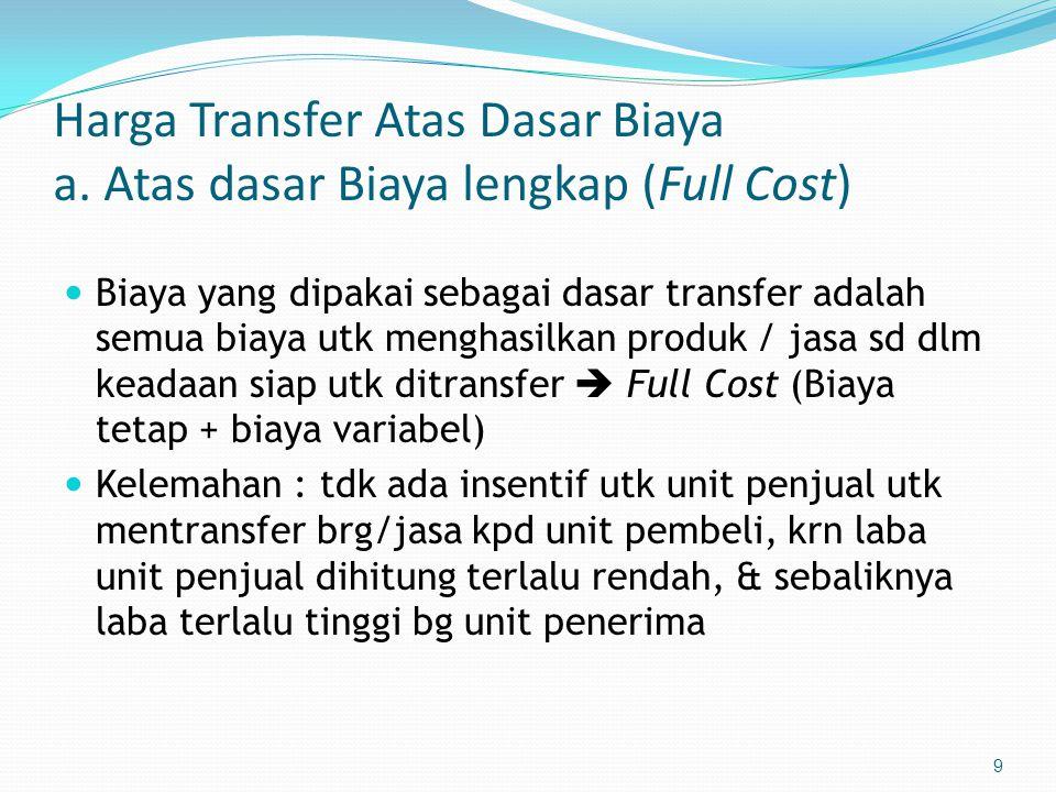 Harga Transfer Atas Dasar Biaya a. Atas dasar Biaya lengkap (Full Cost)