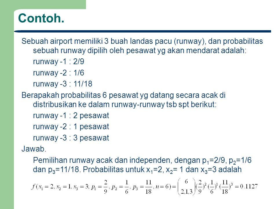 Contoh. Sebuah airport memiliki 3 buah landas pacu (runway), dan probabilitas sebuah runway dipilih oleh pesawat yg akan mendarat adalah: