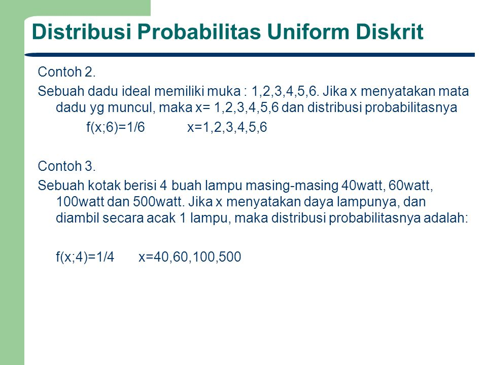 Distribusi Probabilitas Uniform Diskrit