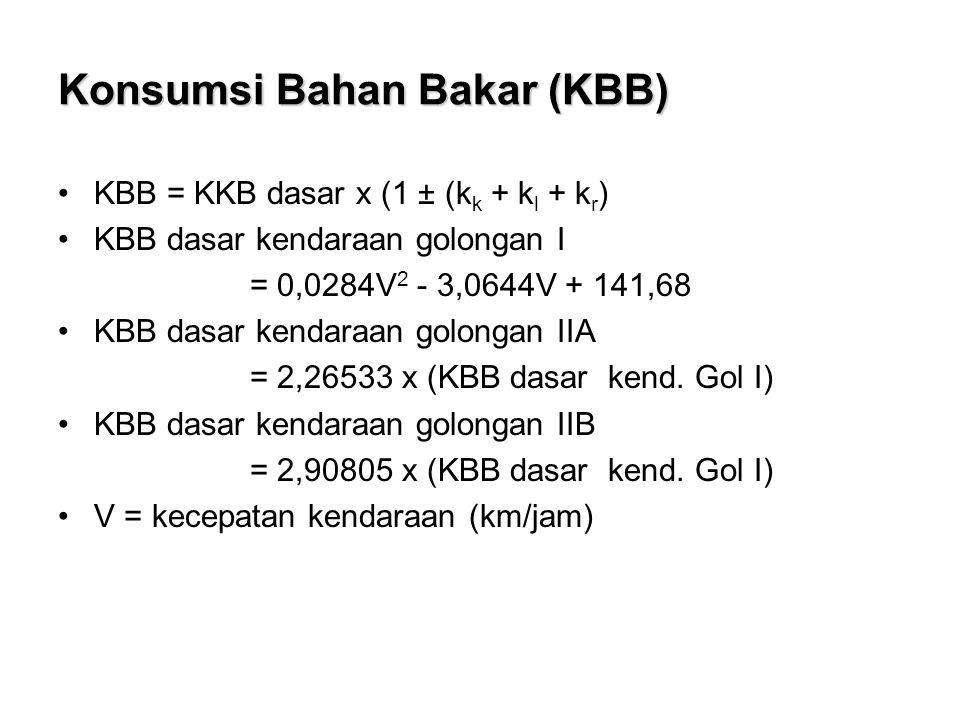 Konsumsi Bahan Bakar (KBB)
