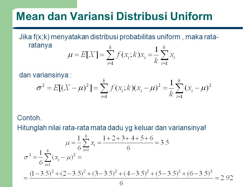Mean dan Variansi Distribusi Uniform