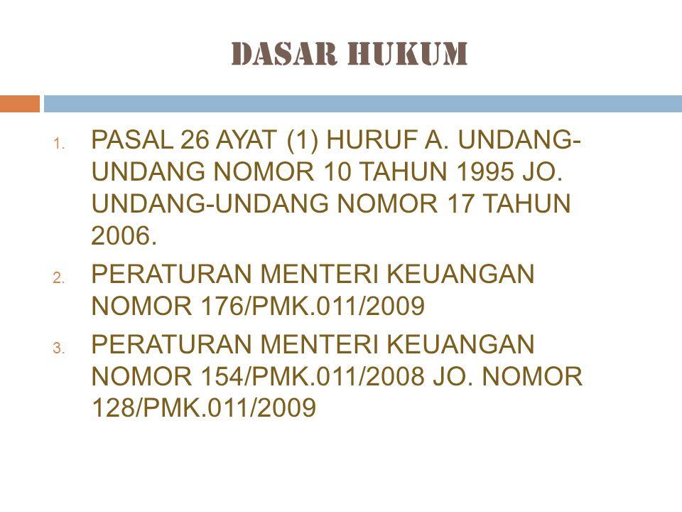 Dasar Hukum PASAL 26 AYAT (1) HURUF A. UNDANG- UNDANG NOMOR 10 TAHUN 1995 JO. UNDANG-UNDANG NOMOR 17 TAHUN 2006.