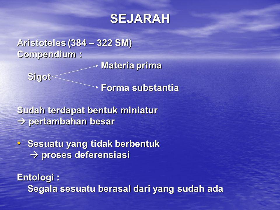 SEJARAH Aristoteles (384 – 322 SM) Compendium : Materia prima Sigot