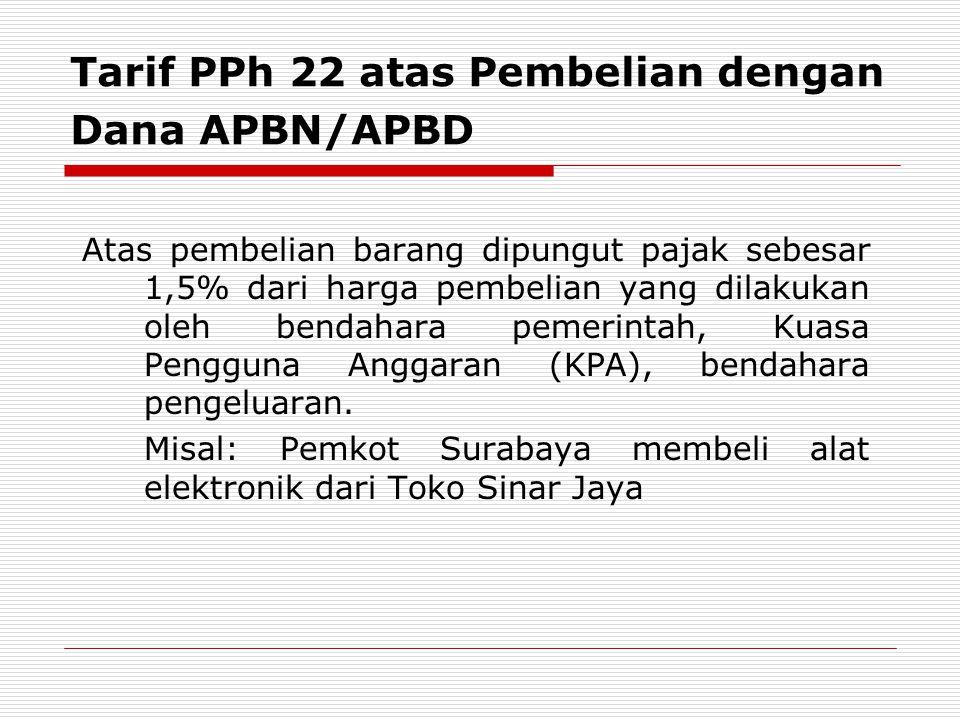 Tarif PPh 22 atas Pembelian dengan Dana APBN/APBD