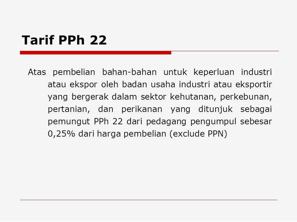 Tarif PPh 22