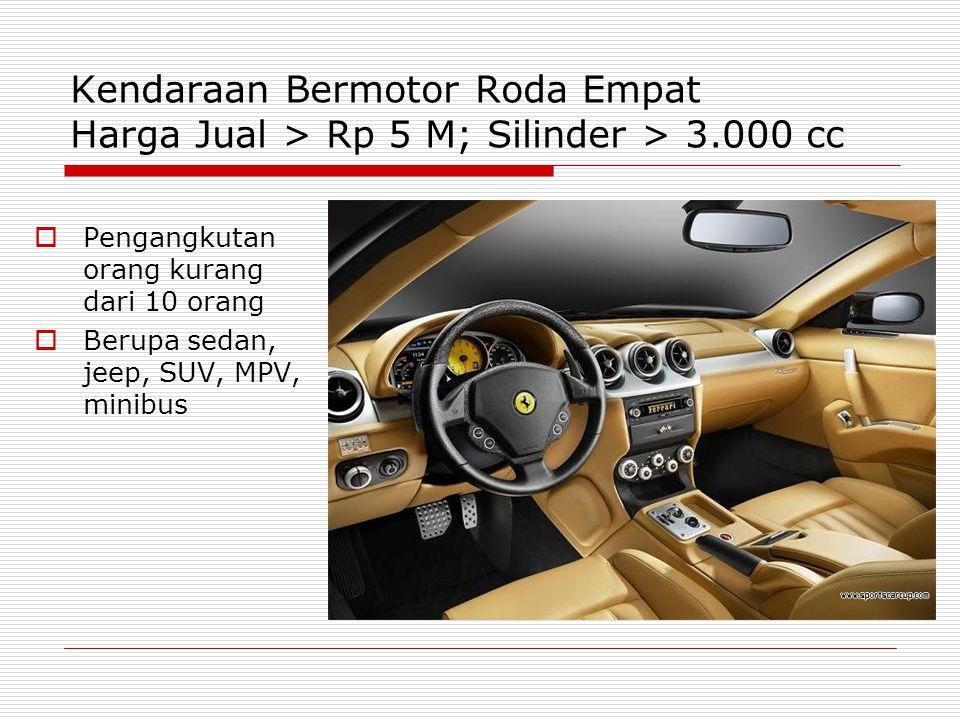 Kendaraan Bermotor Roda Empat Harga Jual > Rp 5 M; Silinder > 3
