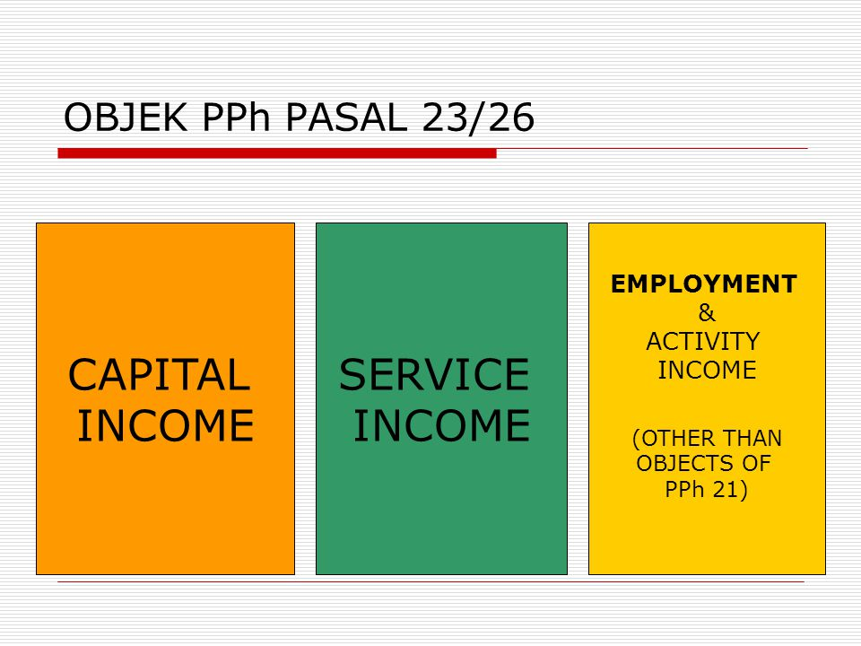 CAPITAL INCOME SERVICE INCOME OBJEK PPh PASAL 23/26 EMPLOYMENT &