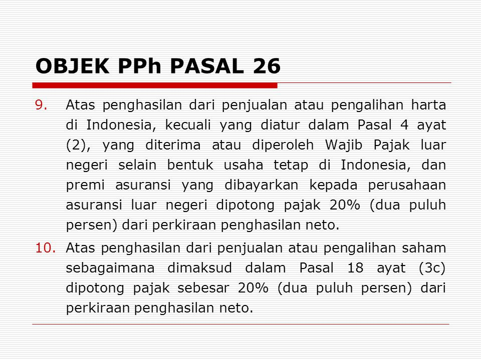 OBJEK PPh PASAL 26