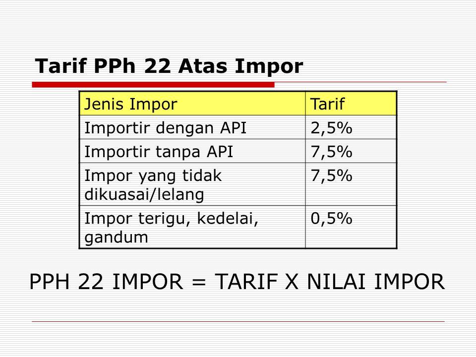 PPH 22 IMPOR = TARIF X NILAI IMPOR