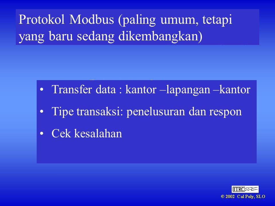Protokol Modbus (paling umum, tetapi yang baru sedang dikembangkan)