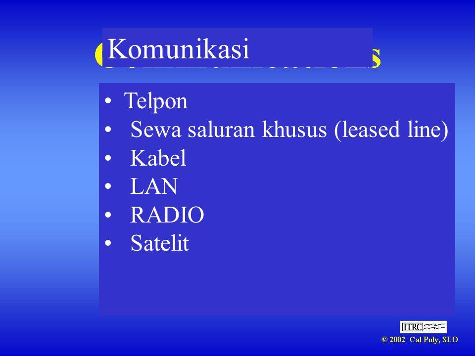Komunikasi Telpon Sewa saluran khusus (leased line) Kabel LAN RADIO