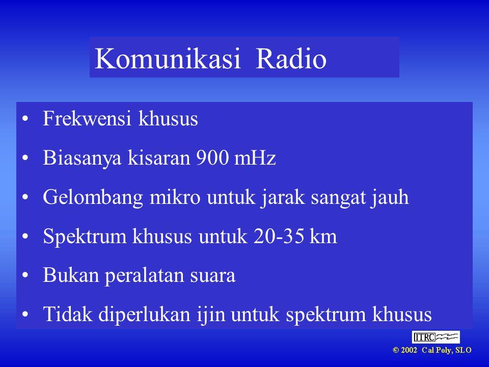 Komunikasi Radio Frekwensi khusus Biasanya kisaran 900 mHz