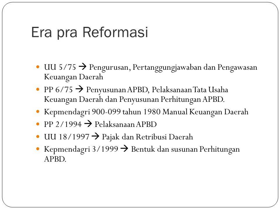 Era pra Reformasi UU 5/75  Pengurusan, Pertanggungjawaban dan Pengawasan Keuangan Daerah.