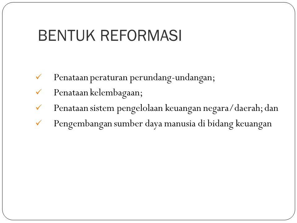 BENTUK REFORMASI Penataan peraturan perundang-undangan;