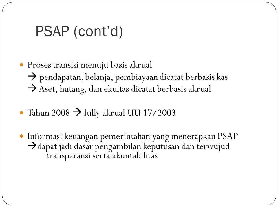 PSAP (cont'd) Proses transisi menuju basis akrual