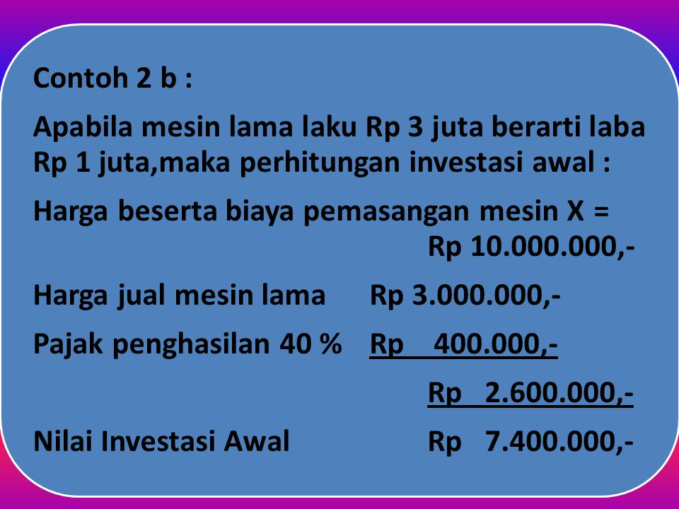 Contoh 2 b : Pajak penghasilan 40 % Rp 400.000,- Rp 2.600.000,- Harga jual mesin lama Rp 3.000.000,-