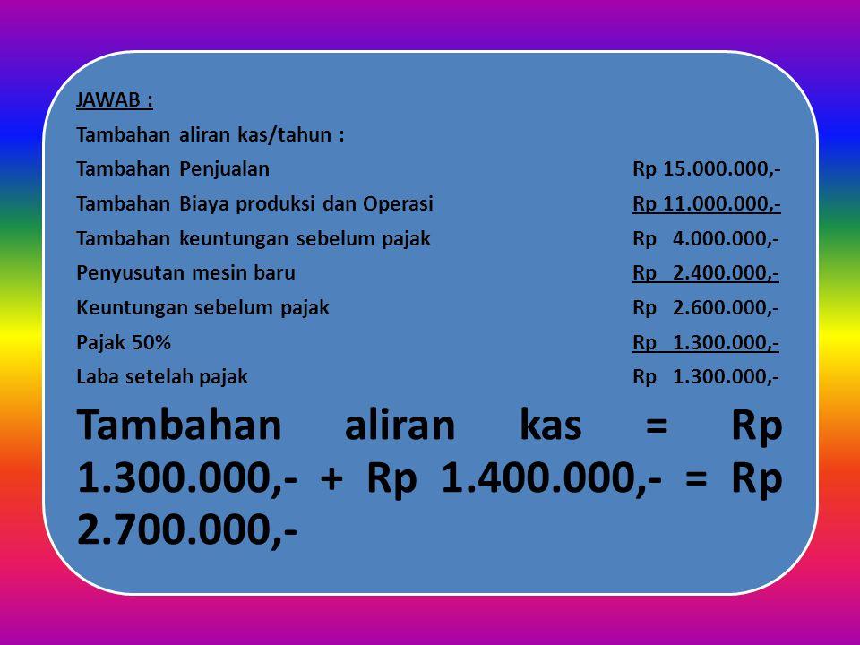 Tambahan aliran kas = Rp 1.300.000,- + Rp 1.400.000,- = Rp 2.700.000,-