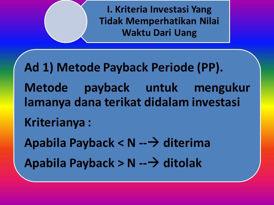 I. Kriteria Investasi Yang Tidak Memperhatikan Nilai Waktu Dari Uang