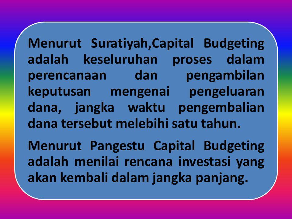 Menurut Pangestu Capital Budgeting adalah menilai rencana investasi yang akan kembali dalam jangka panjang.