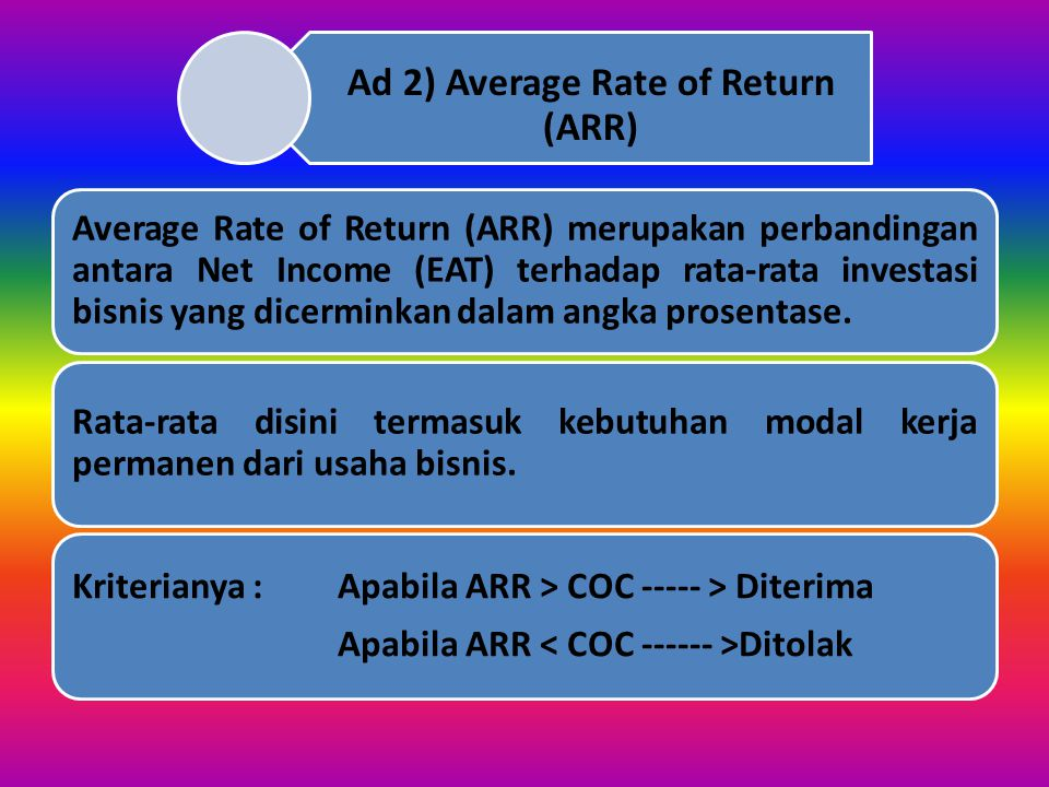 Ad 2) Average Rate of Return (ARR)