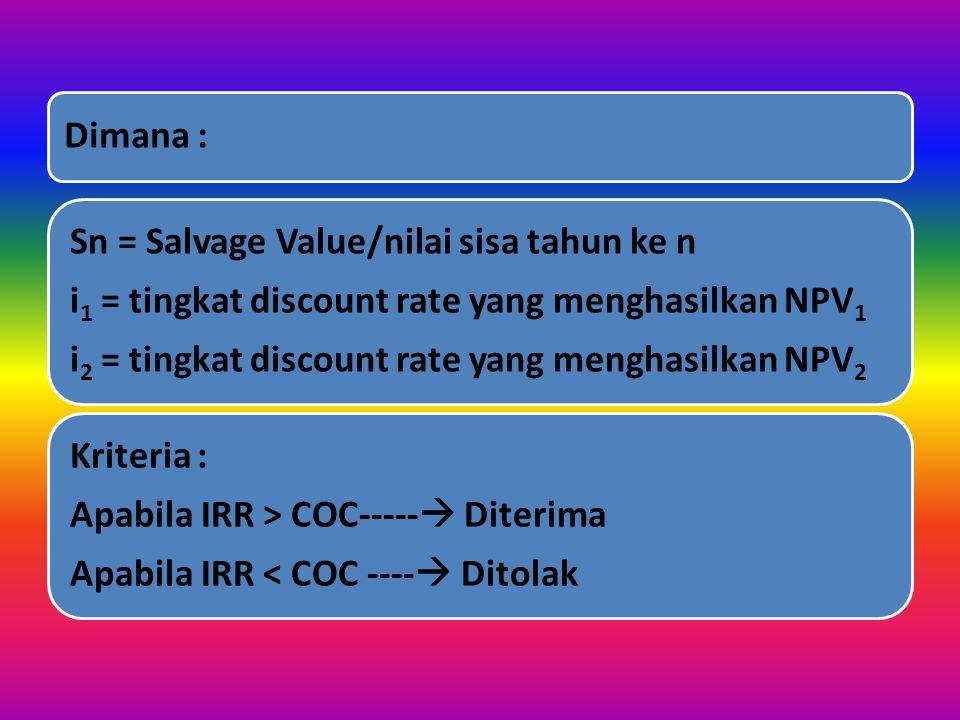 Dimana : i2 = tingkat discount rate yang menghasilkan NPV2. i1 = tingkat discount rate yang menghasilkan NPV1.