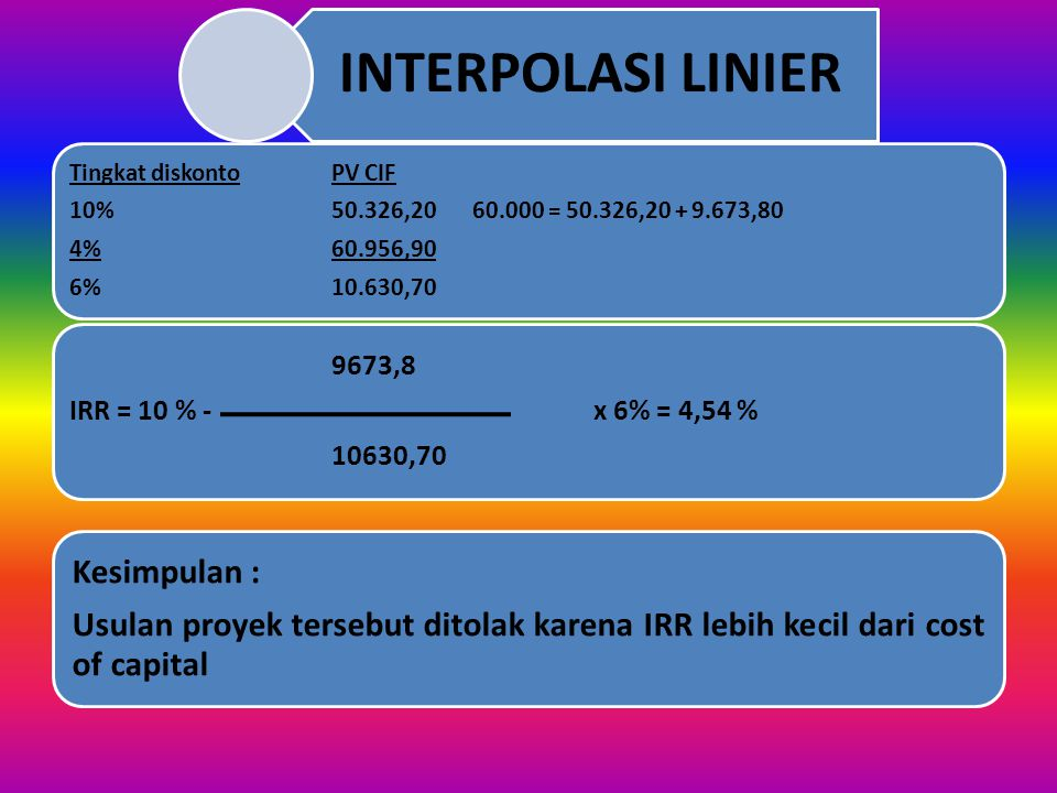 INTERPOLASI LINIER 6% 10.630,70. 4% 60.956,90. 10% 50.326,20 60.000 = 50.326,20 + 9.673,80.