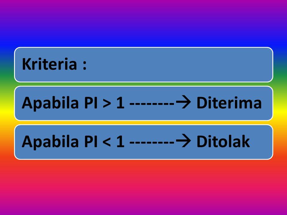 Kriteria : Apabila PI > 1 -------- Diterima Apabila PI < 1 -------- Ditolak