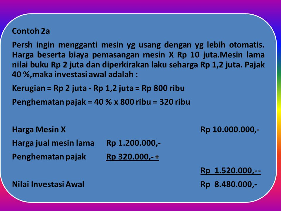 Contoh 2a Kerugian = Rp 2 juta - Rp 1,2 juta = Rp 800 ribu.