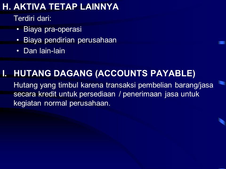 I. HUTANG DAGANG (ACCOUNTS PAYABLE)