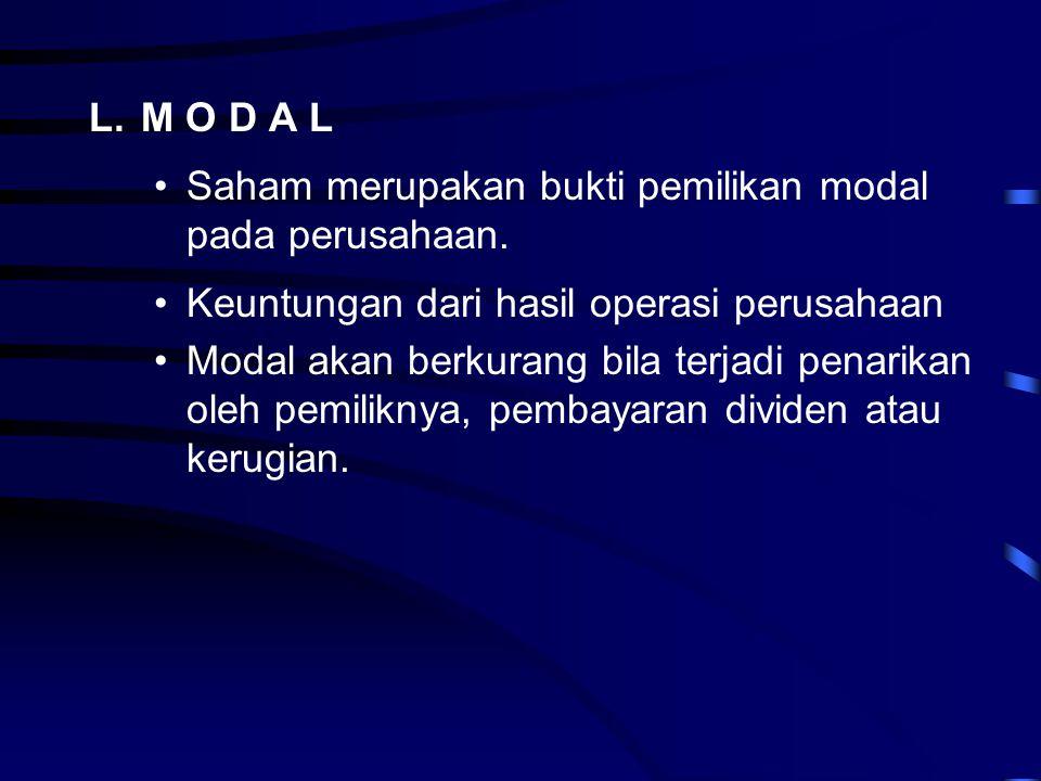 L. M O D A L Saham merupakan bukti pemilikan modal pada perusahaan. Keuntungan dari hasil operasi perusahaan.