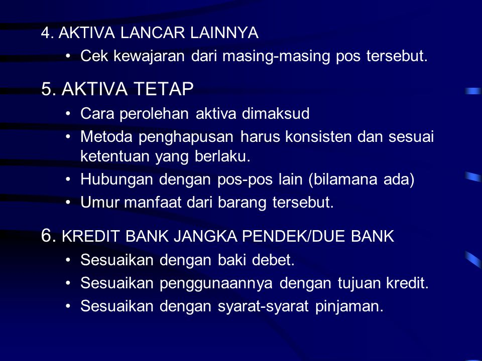 6. KREDIT BANK JANGKA PENDEK/DUE BANK