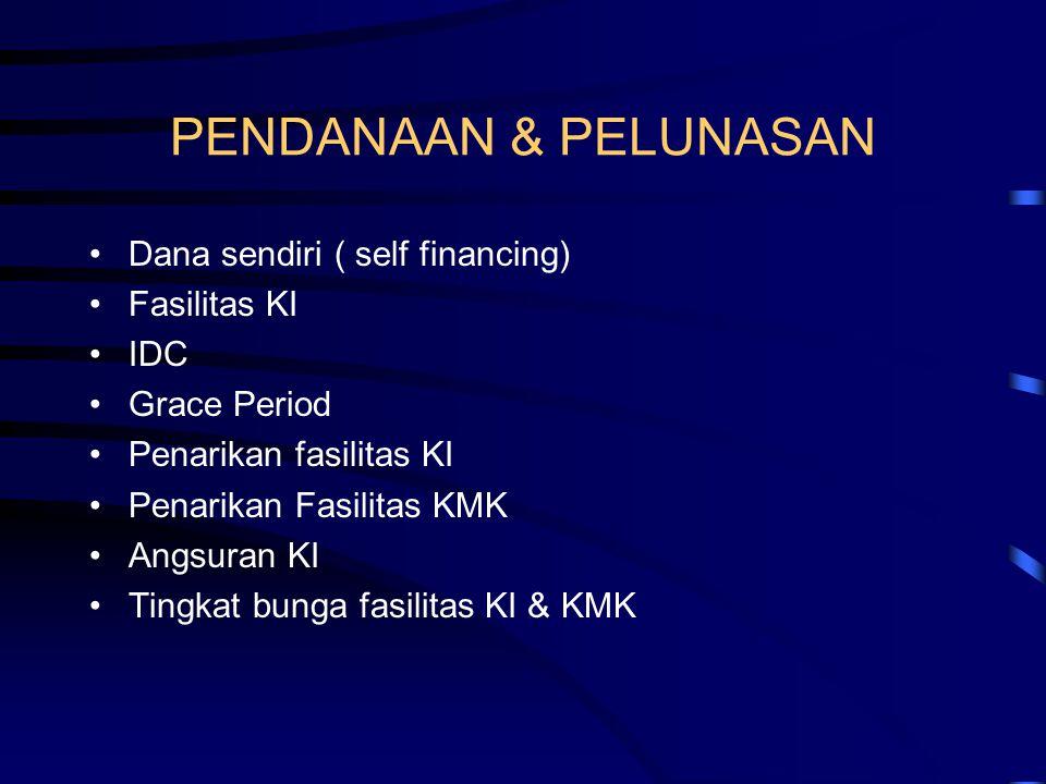 PENDANAAN & PELUNASAN Dana sendiri ( self financing) Fasilitas KI IDC