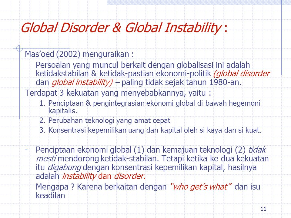 Global Disorder & Global Instability :