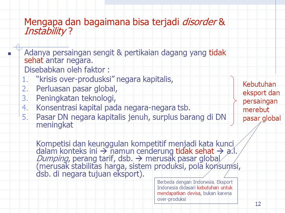 Mengapa dan bagaimana bisa terjadi disorder & Instability