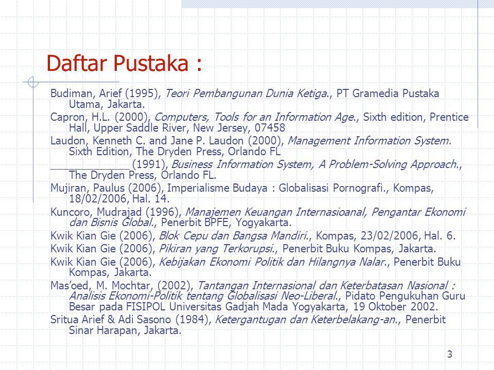 Daftar Pustaka : Budiman, Arief (1995), Teori Pembangunan Dunia Ketiga., PT Gramedia Pustaka Utama, Jakarta.