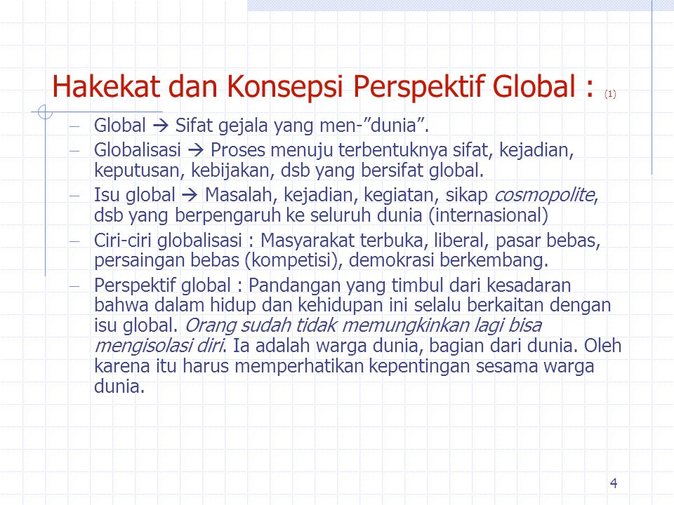 Hakekat dan Konsepsi Perspektif Global : (1)